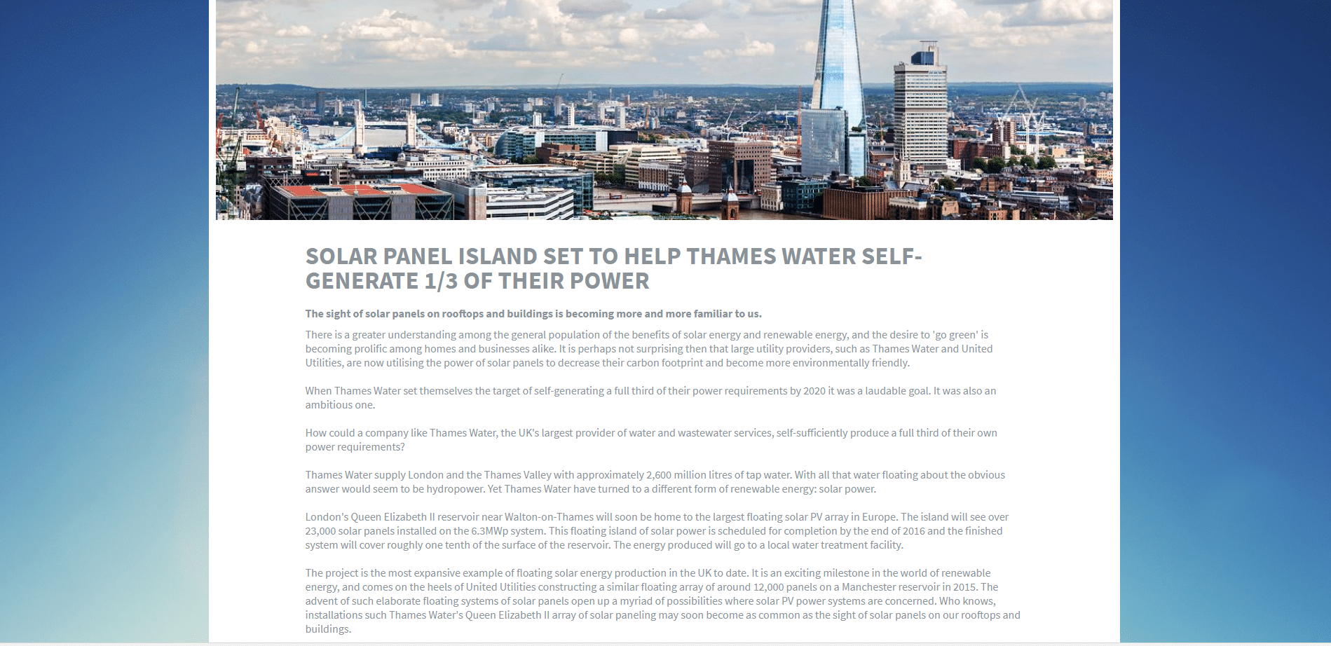Recycle Solar - Solar Panel Island Set To Help Thames Water Self-Generate A Third Of Their Power